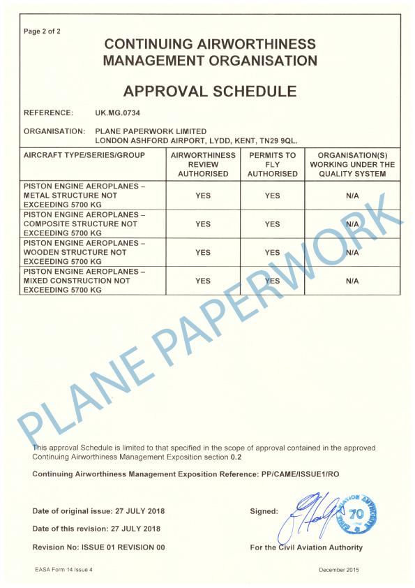 Plane Paperwork Limited Approval