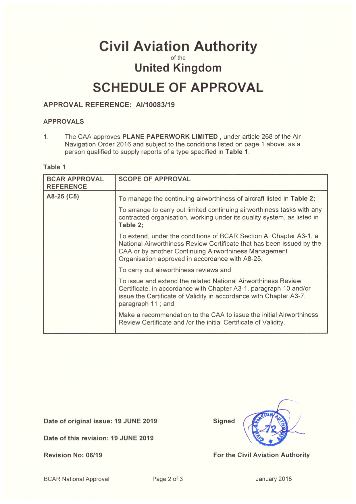 Eagle Aero Engineering Limited Approval